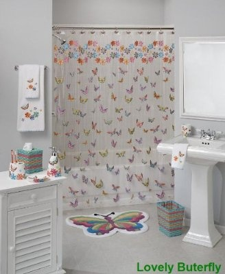 Lovely Butterfly Bath Coordinate! Vinyl Shower Curtain With Brightly  Colored Butterflies Is Perfect For Girls Of All Ages! Coordinating  Accessories ...