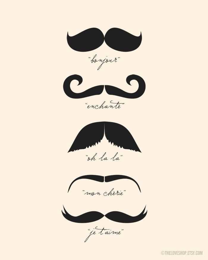 Monsieur Moustache (in Cream and Black) No 020 - 8x10 French