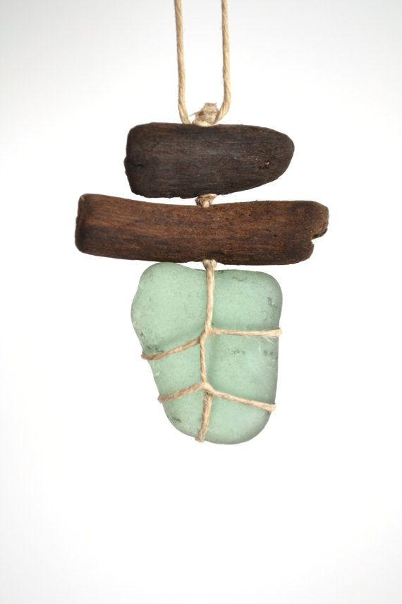 Grazim - Sea glass and driftwood necklace/charm - the simplicity of this piece feels very fresh