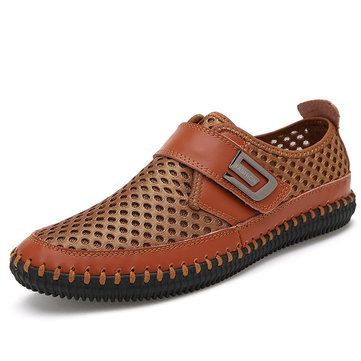 fashion men stitching honeycomb mesh soft loafers breathable outdoor casual shoes newchic mobile.