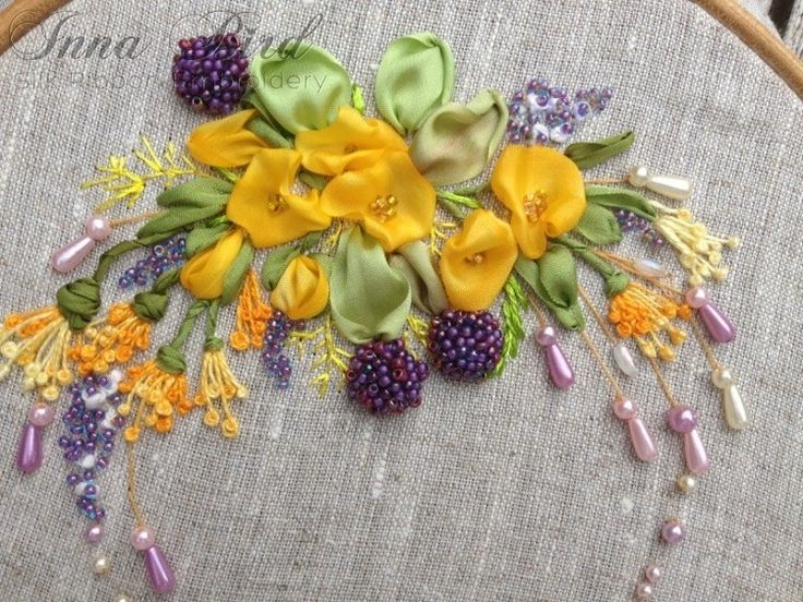 Ribbon embroidery with beadidng