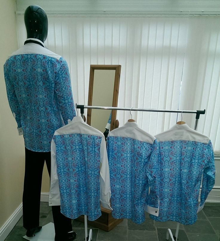 Fancy back shirts X 4. This commissioned order for the Groom and Best man and Ushers for his special day.  Our fancy back shirts are ideal for all events. When a jacket is worn the fancy back cannot be seen.  shirtbackandsides.co.uk  #weddingday #Groom