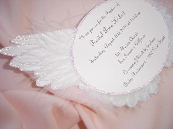 Heaven Sent Angel Wing Invitation by BridalBijou on Etsy, $3.75