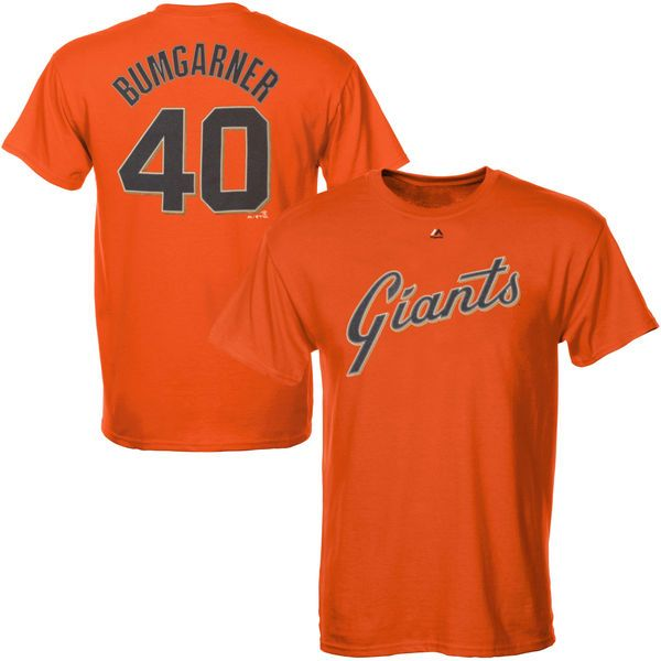 Madison Bumgarner San Francisco Giants Majestic Official Name and Number T-Shirt - Orange - $27.99