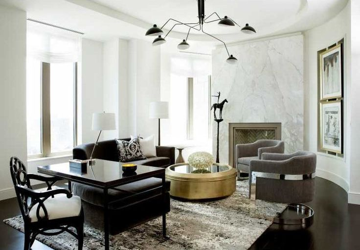 Contemporary Home Office with Concrete floors, Chandelier, Winifred Hollywood Regency Brass Black Glass Coffee Table