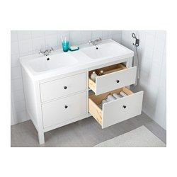 IKEA - HEMNES / ODENSVIK, Sink cabinet with 4 drawers, white, , Smooth-running and soft-closing drawers with pull-out stop.You can easily see and reach your things because the drawers pull out fully.Perfect for more than one since the sinks has two bowls.The included water trap is easy to connect to the drain, washing machine and dryer because it is flexible.Unique water trap design gives room for a full sized drawer.