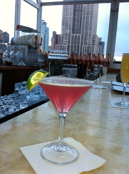 ... Having my post-show celebratory cosmo at the Strand hotel rooftop bar