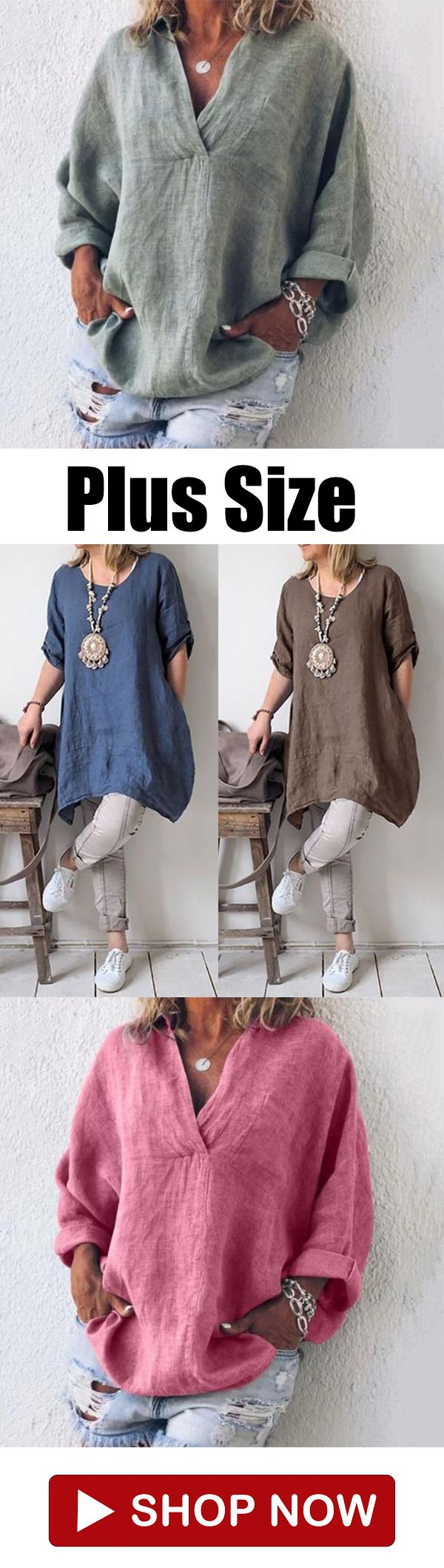 Casual Solid Color Blouses