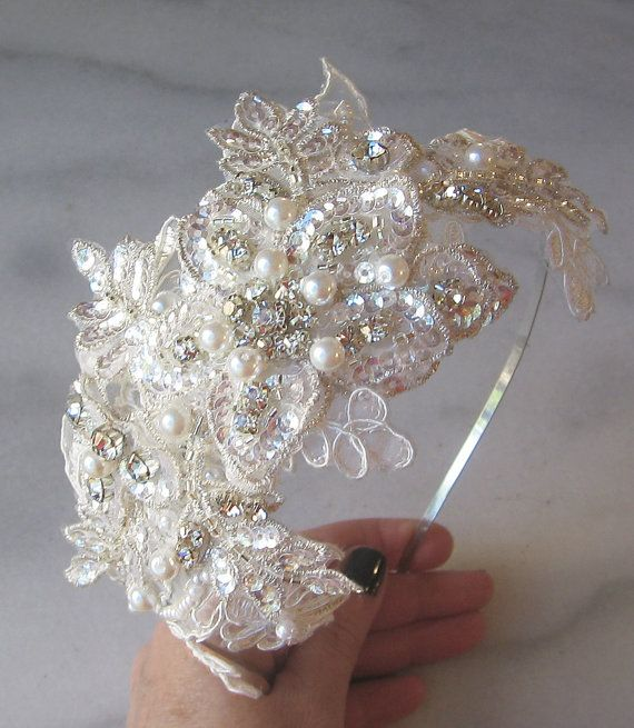 Rhinestone and Pearl Headband with Ivory Lace, Crystal Bridal Headband, Beaded Lace Head Piece - BRIANNE