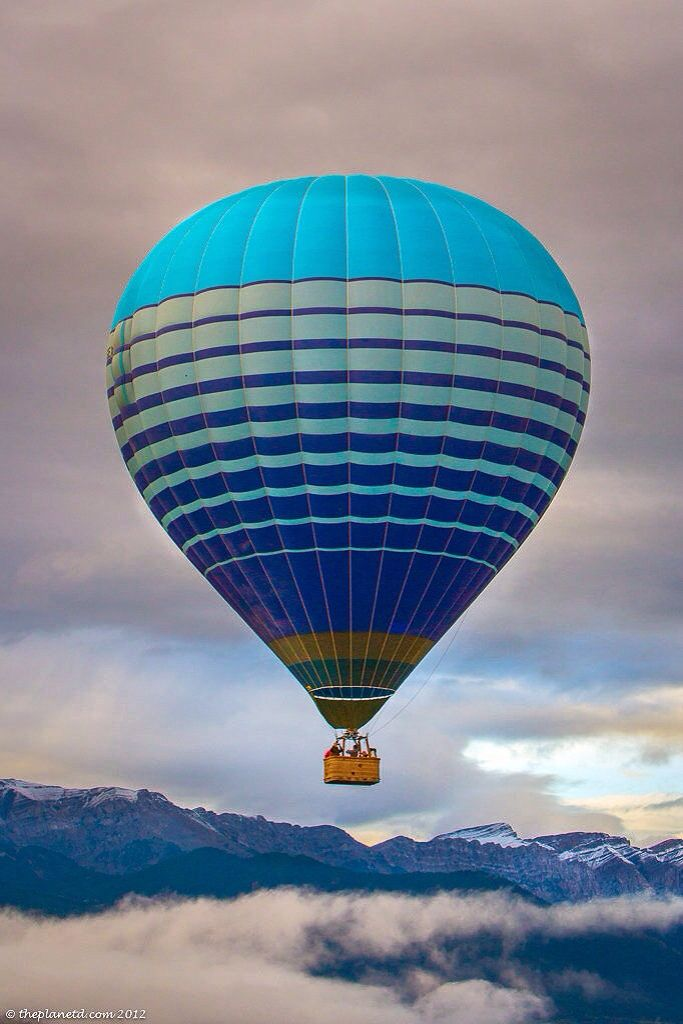Blue Hot Air Balloon in the sky