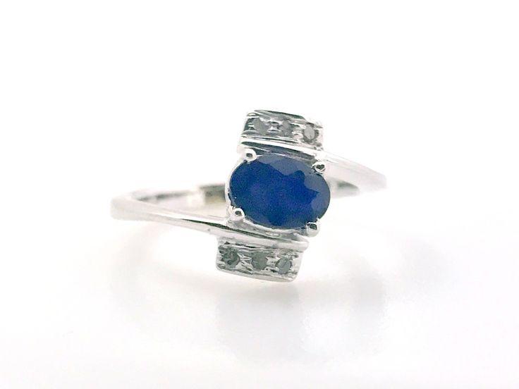 Sterling Silver Blue Sapphire Ring with  single cut Diamonds ,Birthstone Ring, Blue Birthstone, September Birthstone, by BNaqshatraJewels on Etsy