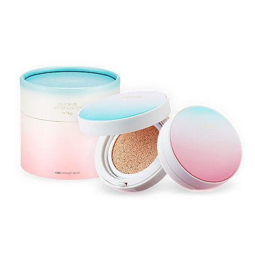 THE FACE SHOP CC Intense Cover Cushion Limited Edition SPECIAL SET Long-lasting(lasting over 25 hr) Coverage and Brightening. Net Weight: Rose-quartz Case 15 g + Serenity Case 15 g + Cylindrical Gift Box