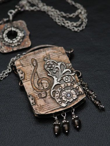 Music Locket - PMC+ two part locket with citrine stone set in both sides. by Christi Anderson