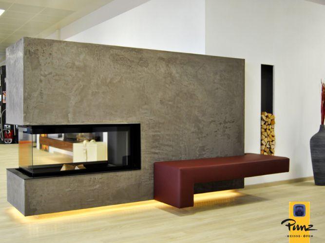 Heizkamin Modern M Design, Raumteiler, Glas 3 Seitig, 100/50