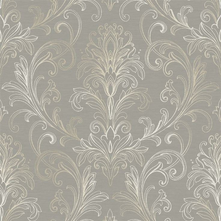 A subtle gray and white damask wallpaper from the book Whisper Prints at AmericanBlinds.com #wallcovering
