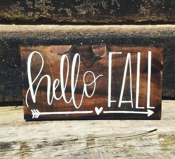 Fall Sign Hello Fall Sign Hand Painted Sign by TheFreckledGoose