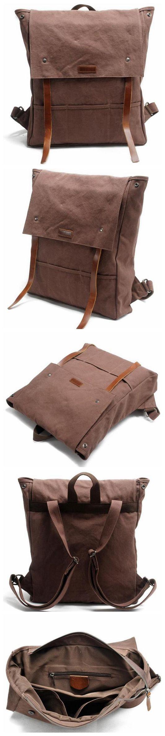 Canvas Leather Backpack School Backpack AF17