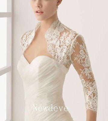 Custom Lace 3/4 Sleeves Bridal Wedding Jackets White Ivory Bolero Plus Size 2016