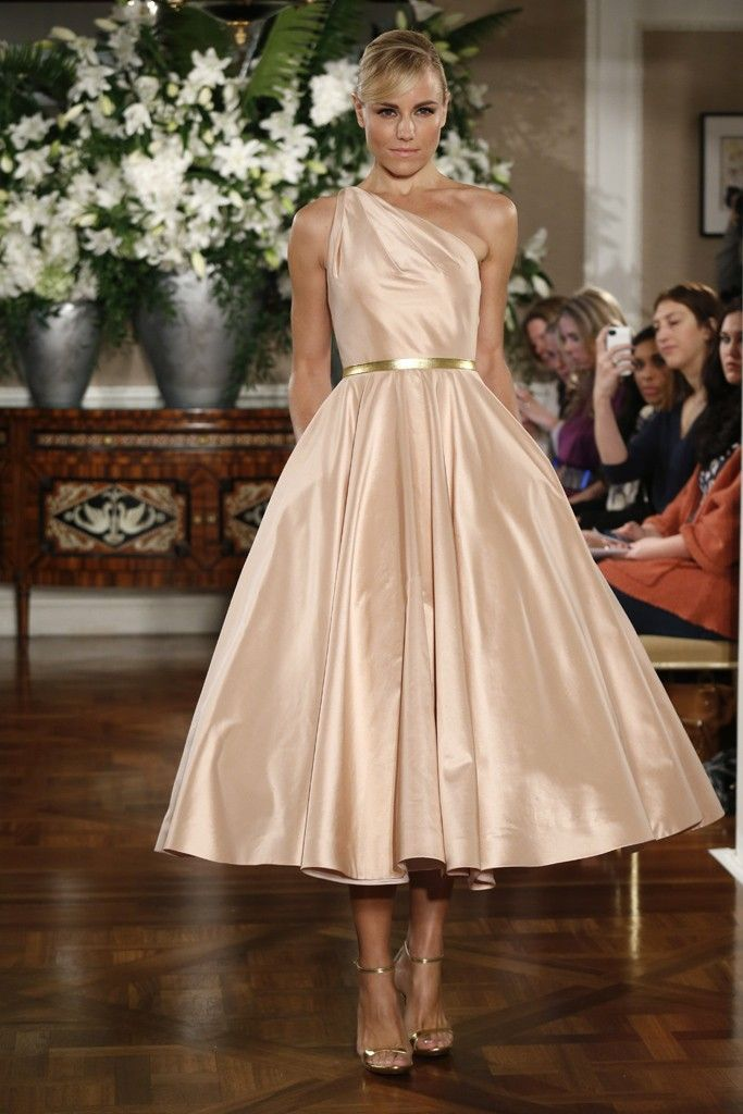 "A champagne colored one shouldered tea length dress for your bridesmaids? Um, they all say ""Yes please!"""