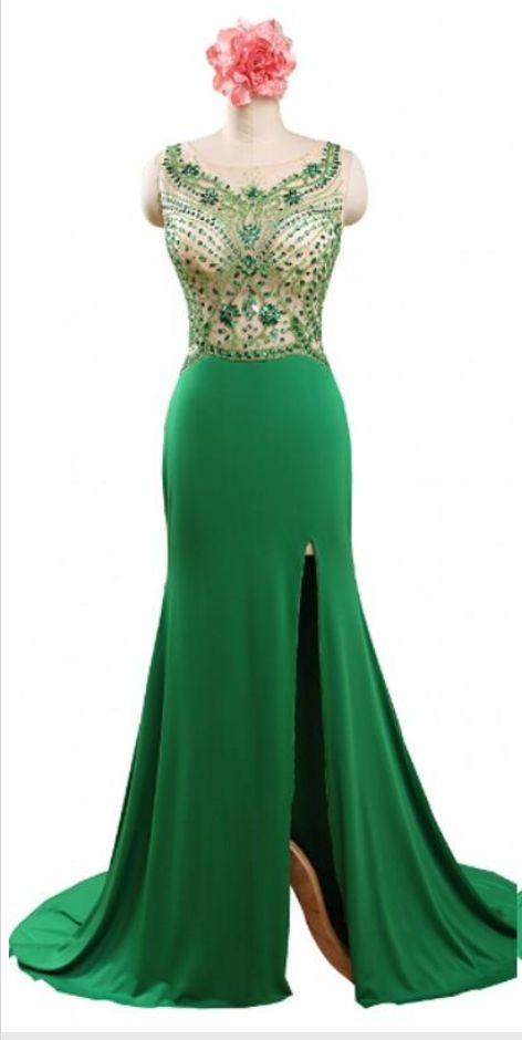 Sparkly Evening Dressess Emerald Green Formal Dresses Evening