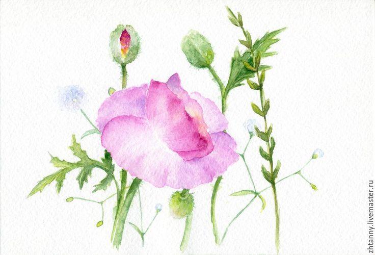 """Купить Акварель """"Летние цветы"""" - розовый, нежно-розовый, зеленый, салатовый, цветы, маки"""