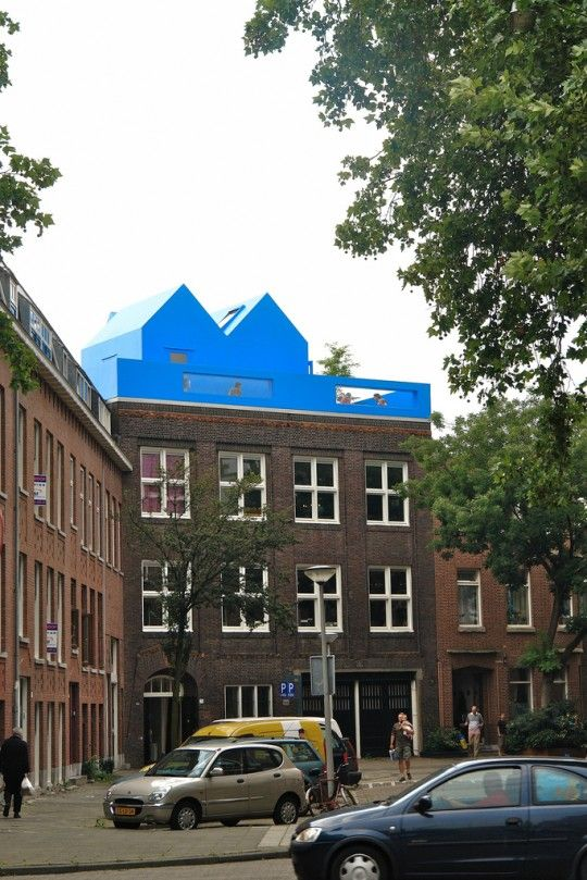 Blue House On the top of building