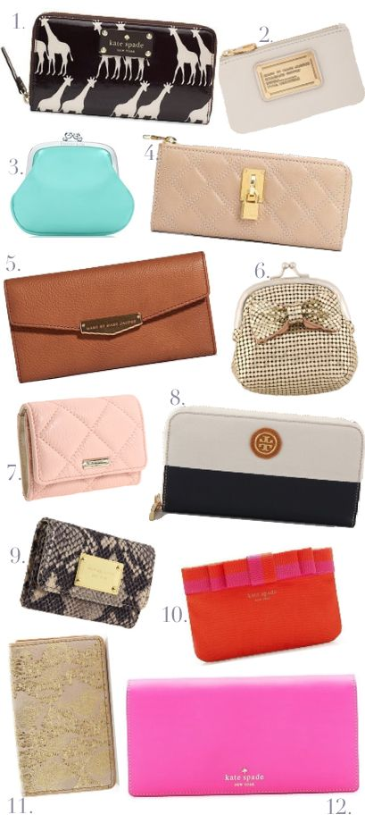 Can't go wrong with a good wallet  1. Kate spade wallet $155  2.Marc Jacobs Coin Purse Sale $55  3. Tiffany & Co Join Purse $75  4.Marc Jacobs Lacquered Quilted Long Zip Wallet Sale: $275  5.Marc by Marc Jacobs Brown Leather $190  6. Forever 21 Chainmail Coin Purse $4.80  7. Kate Spade Gold Coast Shimmer Darla Sale: $87.50  8. Tory Burch Zip Continental Wallet $195  9. Michael Kors Jet Set Python Embossed Flap Coin Purse $68  10.Kate Spade Barrow Street Coin Purse $50  11. Lodis Mini Card…