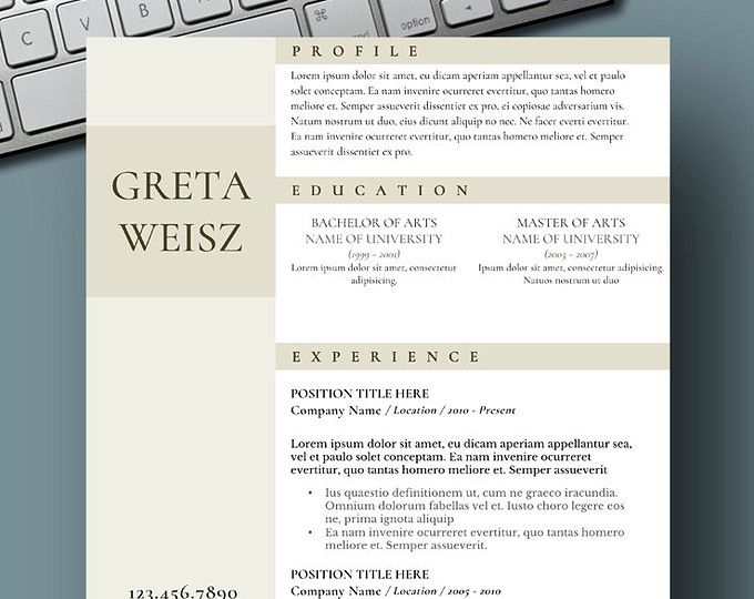 Resume Templates for Word CV Template by ResumeFoundry on Etsy