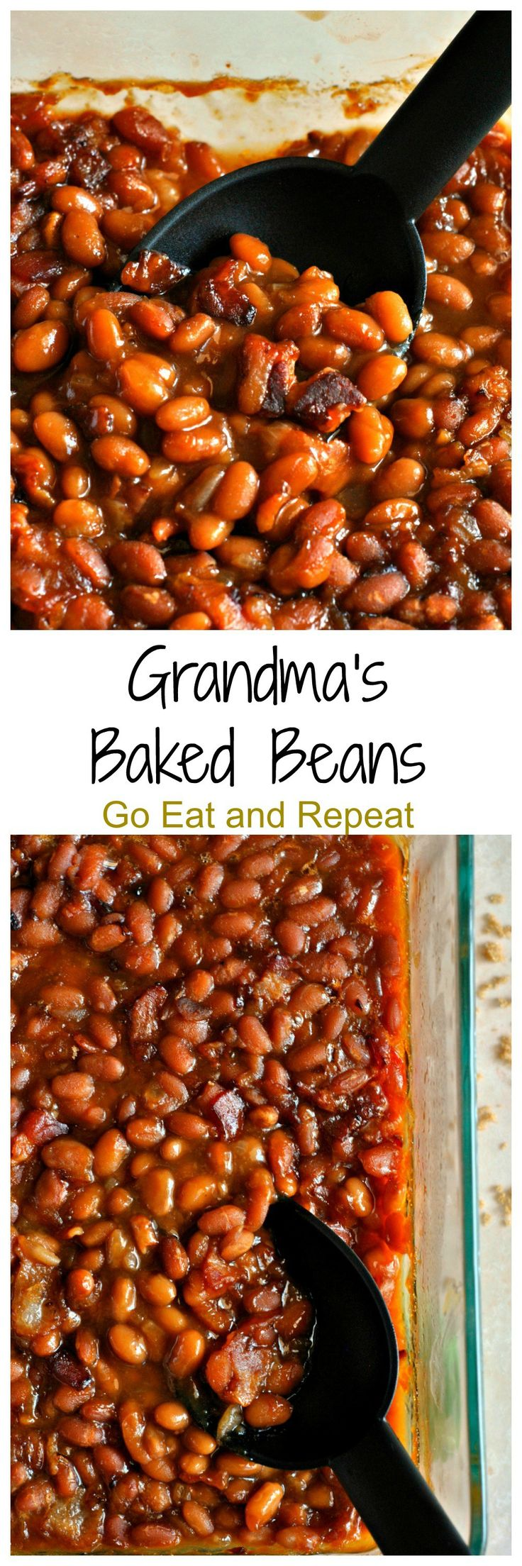 Grandma's Baked Beans are seasoned with bacon, brown sugar, molasses, and ketchup to create this mouthwatering side dish!