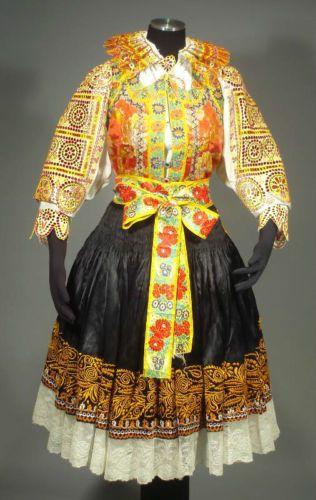 Slovak Folk Costume Ethnic Embroidered Outfit Blouse Vest Skirt Apron Lace Kroj | eBay