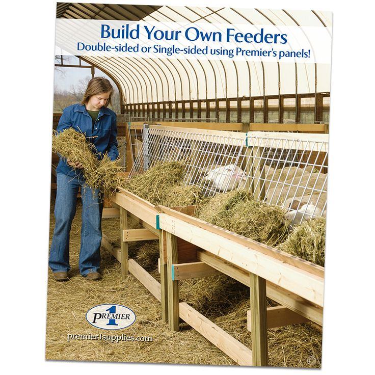 A full-color booklet for building your own sheep and goat feeders. It contains instructions and diagrams on how to build Premier's Double-sided and Single-sided Feeders.
