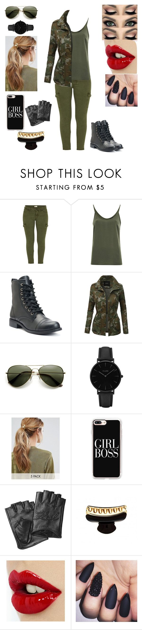 """""""Military girl"""" by erickscrazyladies ❤ liked on Polyvore featuring Mother, VILA, LE3NO, CLUSE, Kitsch, Casetify and Karl Lagerfeld"""