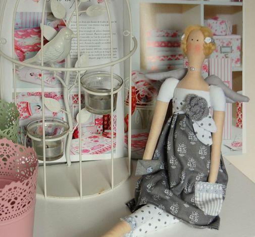 Lalka tilda-szara elegantka Tilda doll grey