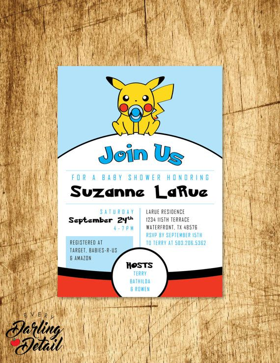 Baby Pikachu Pokemon Go Baby Shower Invitation  for the nerdy mom-to-be, great idea for a gamer shower or sprinkle. https://www.etsy.com/listing/243321095/video-game-pokemon-inspired-baby-shower