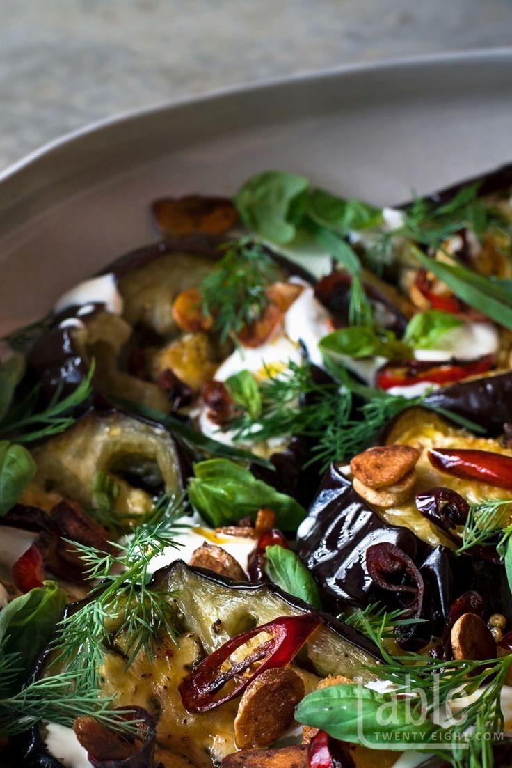 yotam ottolenghi's aubergine & herb salad with garlic yoghurt dressing | table twenty eight