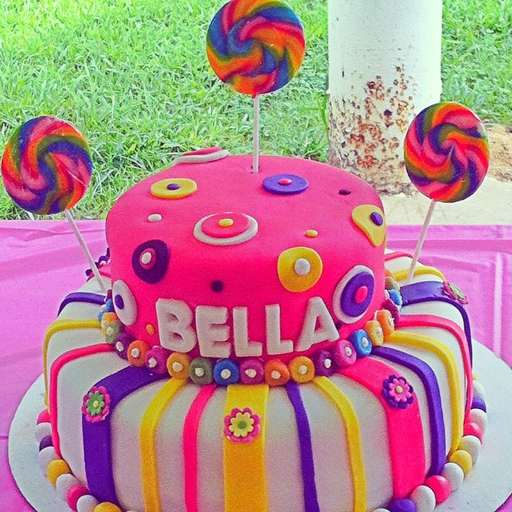 Fun & Colorful Girly birthday cake by Jill