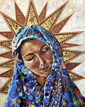 "Artist Mary C Farrenkopf Johnson; Painting, ""Madonna"""