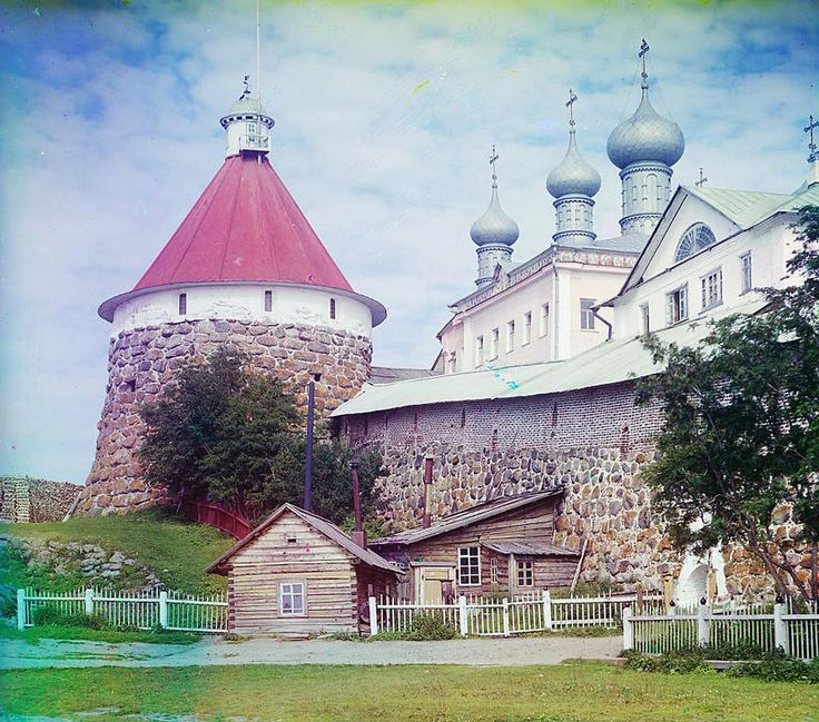 Corner tower of the Trinity Cathedral in the Solovetskii Monastery, Solovetski Islands; 1915 Sergei Mikhailovich Prokudin-Gorskii Collection (Library of Congress).