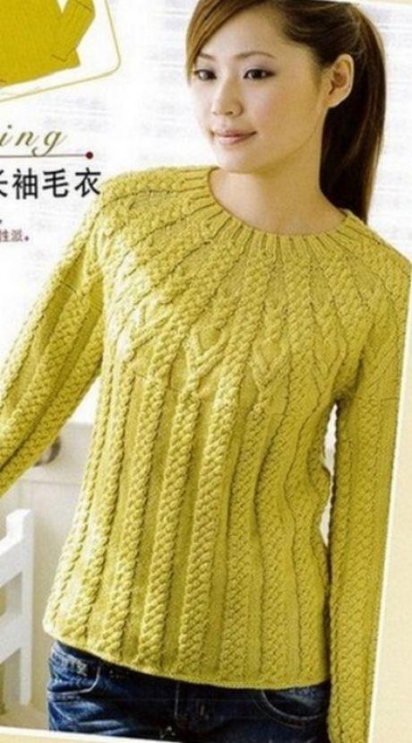 Пуловер с круглой кокеткой спицами. Схема вязания пуловера спицами.