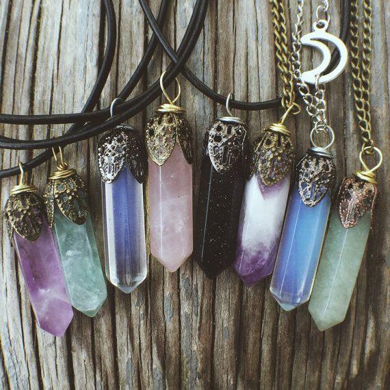 Crystal Necklace Pendant Stone Jewelry- Rose Quartz Amethyst Opal Fluorite Reiki Chakra Boho Bohemian Hippie Tumblr Chokers Womens Jewelry