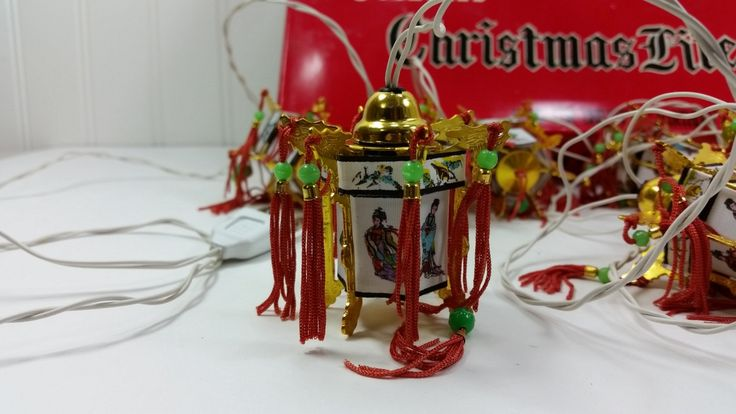 Vintage Chinese Lantern Light String, 5 Colored Christmas Lites, 10 Oriental Lantern Lights with Tassels by naturegirl22 on Etsy