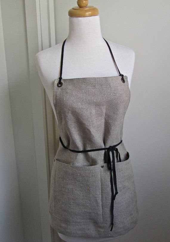 Full Linen Apron  Short  Skinny Leather Ties  by attitudeandapron, $47.00