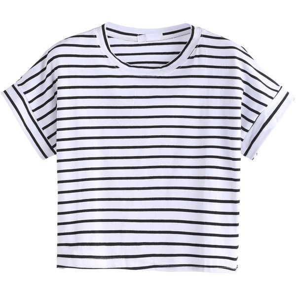 Black And White Striped Crop T-shirt (150 MXN) ❤ liked on Polyvore featuring tops, t-shirts, black and white, striped t shirt, polyester t shirts, summer crop tops, striped tee and summer t shirts