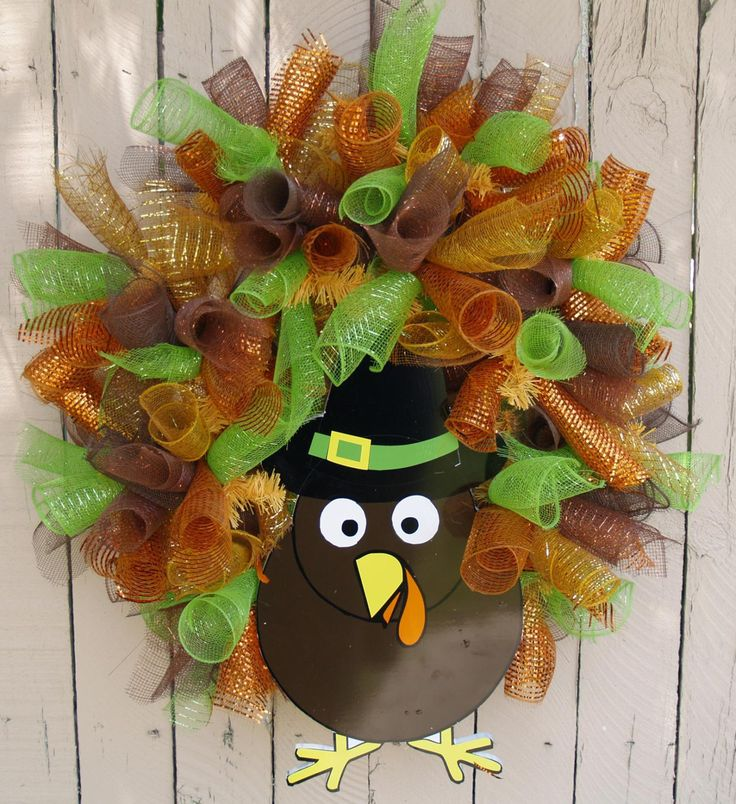 Thanksgiving Fall Turkey Deco Mesh Wreath by SouthernAccentsEtc, $85.00