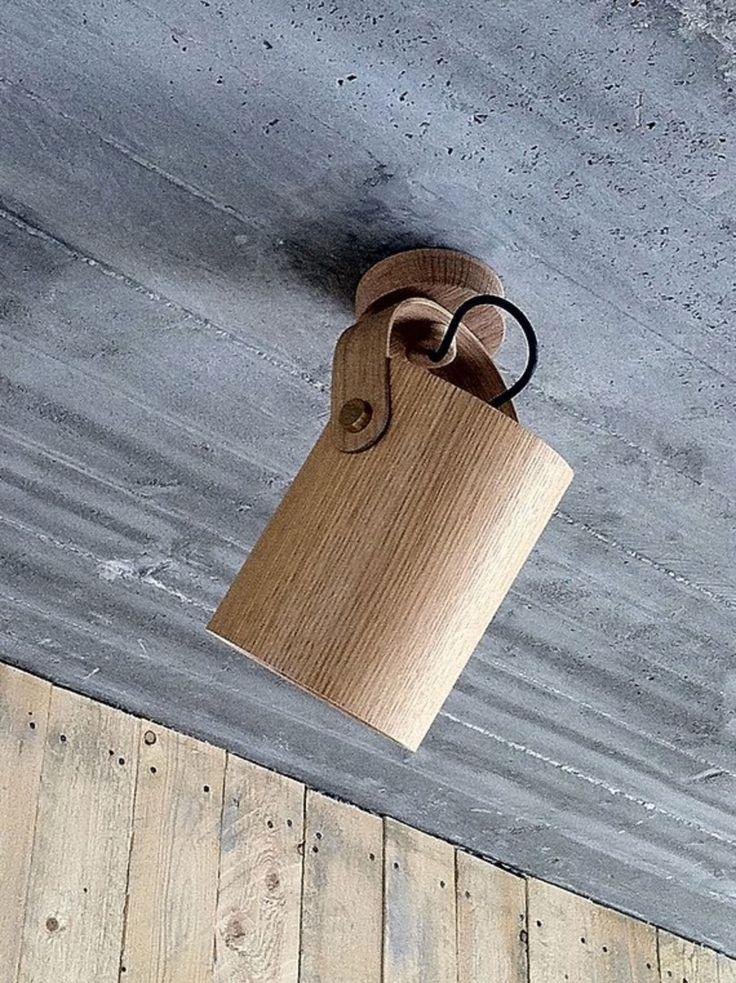ceiling light. White oak & brass buttons.