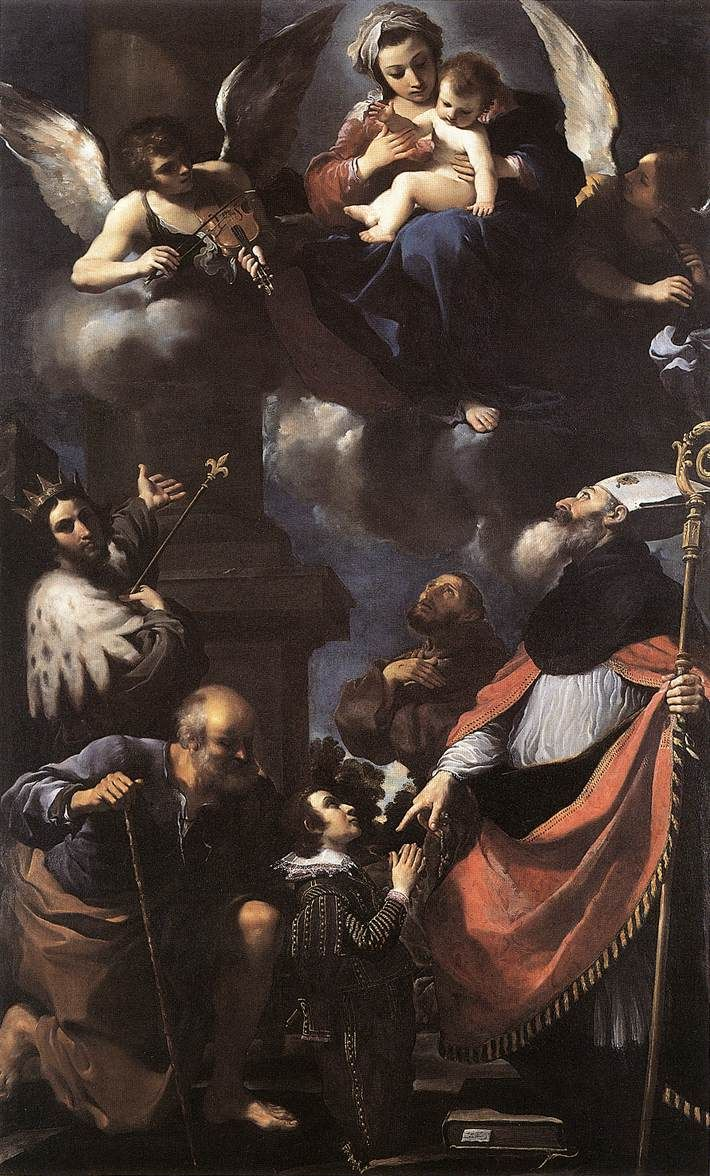 Giovanni Francesco Barbieri (Il Guercino), The Presentation of the Virgin to Donors, c. 1616
