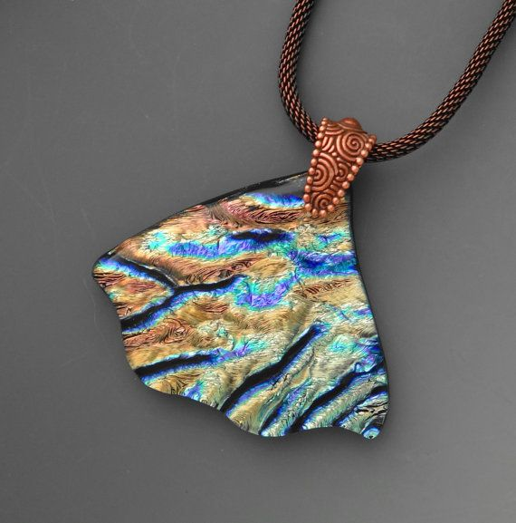 434 best dichroic glass images on pinterest dichroic glass copper and blue glass pendant organic fused glass by glasscat mozeypictures Choice Image