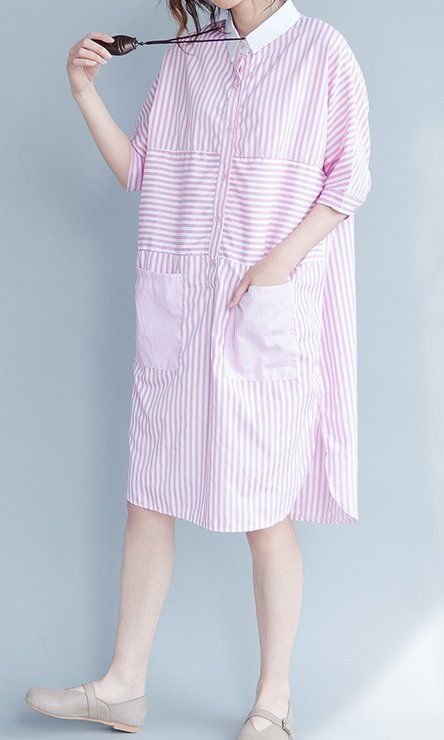 Women loose fit over plus size stripes dress pocket tunic skirt pregnant pink #Unbranded #dress #Casual