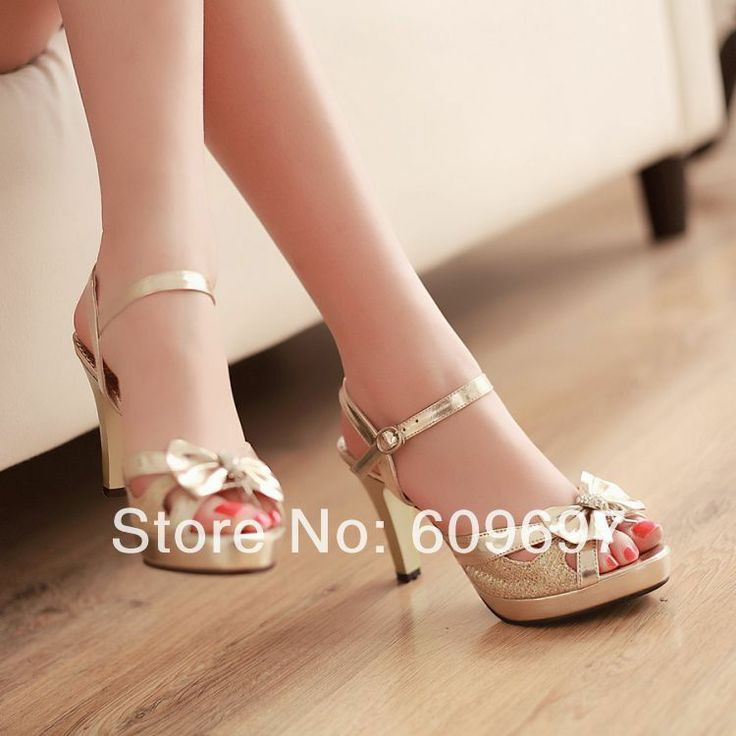 Fresh Single Shoes 2014 New Spring Female High-heeled Sandals Heels Woman Shoes Open Toe Bow Gold Silver Women's Pumps Free Ship US $29.98