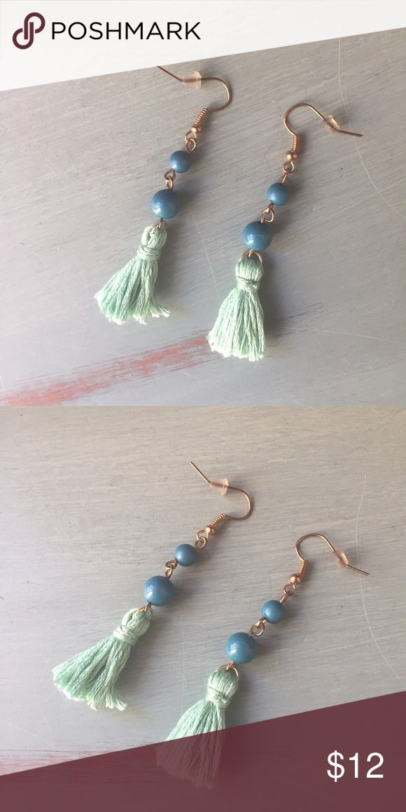 "Beaded tassel earrings Cute handmade earrings with blue beads and aqua cotton thread tassels. New! *downsizing, everything must go! Bundles of 3+ items get an automatic 20% discount at checkout. Offers on individual listings are considered via the ""make an offer"" feature only.. I can usually ship next day! Jewelry Earrings"